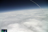 "The StratoShuttle-1 student balloon, an educational project by the Quest for Stars group, captured NASA's shuttle Altantis soaring into orbit as seen from 89,000 feet on July 8, 2011. Tweeted @questforstars: ""Full Parabolic ARC and the exact moment of SRB SEB as timed by GPS on StratoShuttle-1"""
