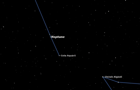 Tonight marks exactly one Neptunian year, 165.6 Earth years, later, and Neptune has returned to Aquarius. Saturn is currently in Virgo, on the other side of the sky as seen here.