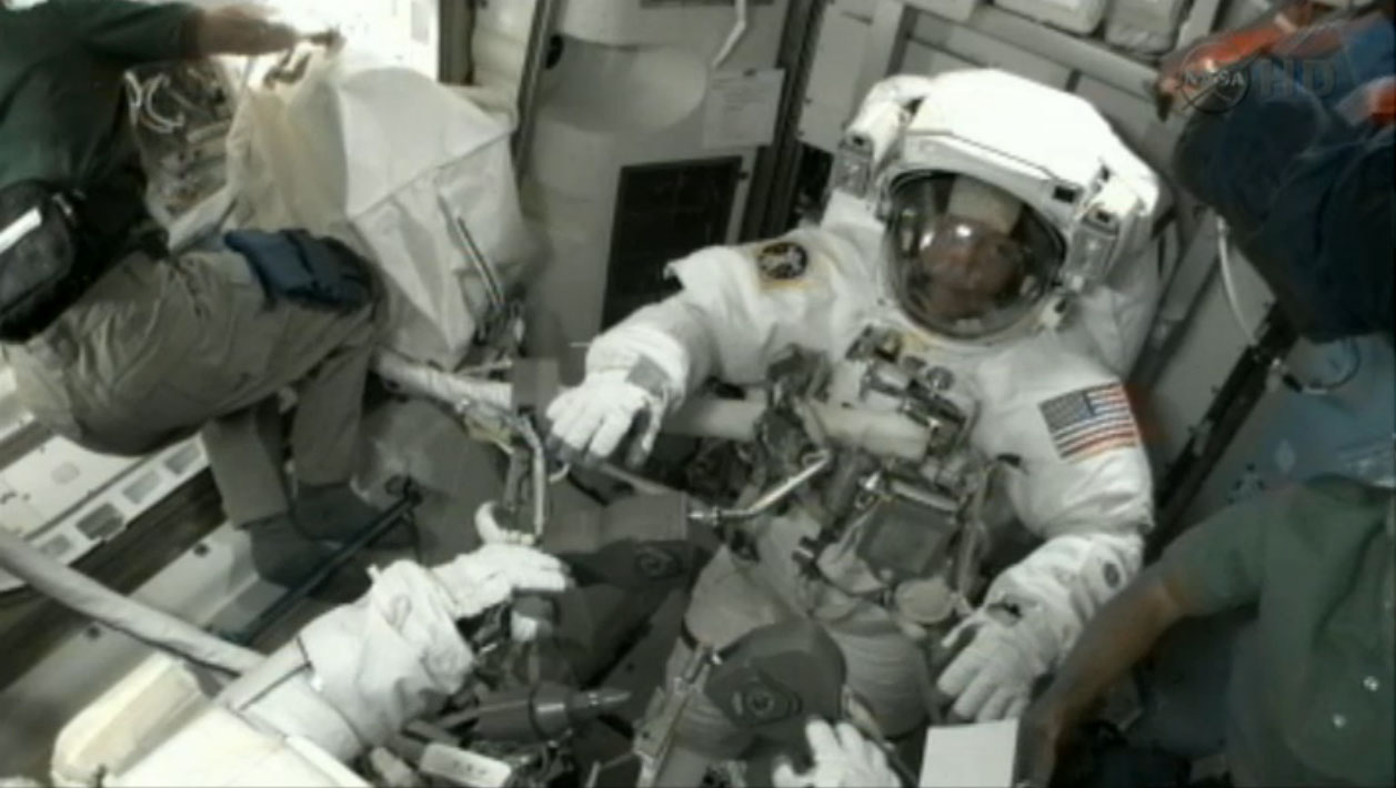 Suiting up for Spacewalk