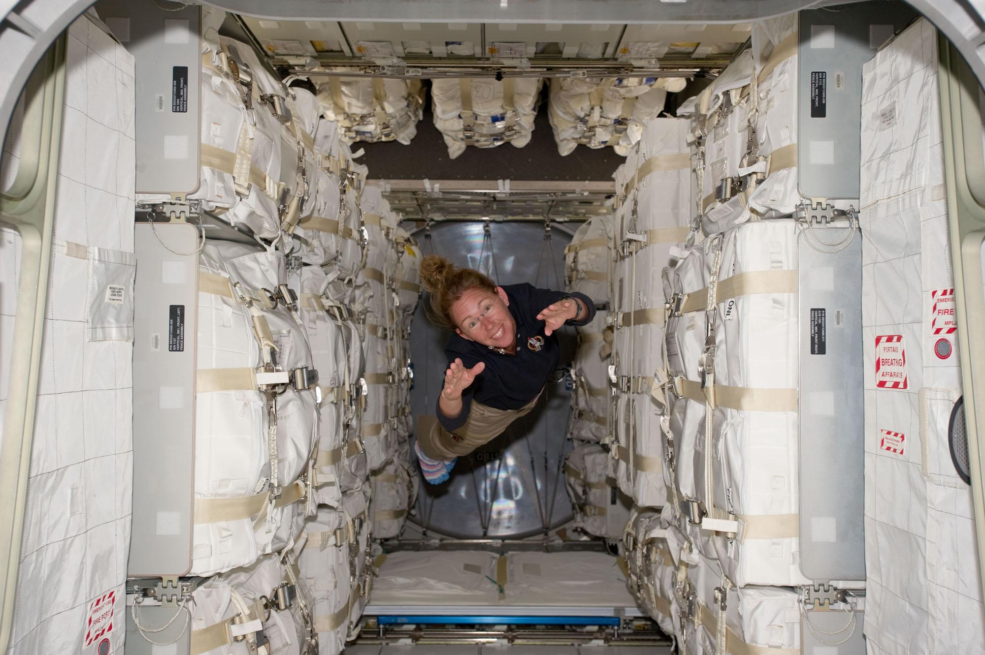 Astronauts Unpack Giant Space Locker in Orbit