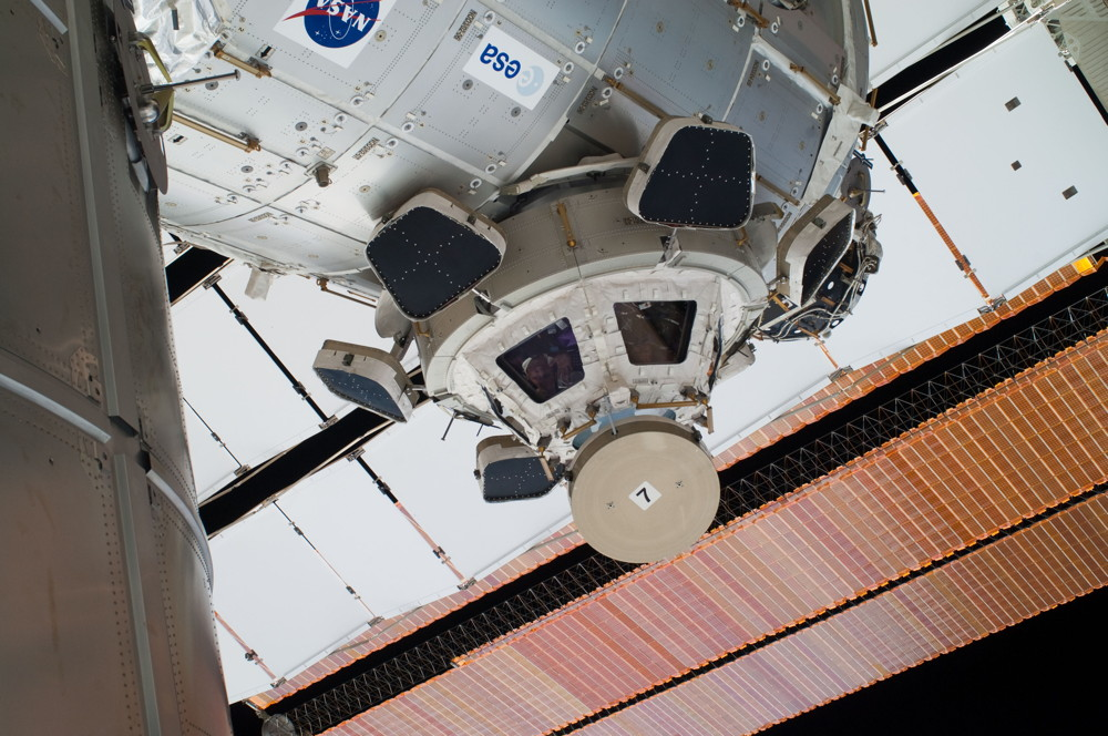 High Angle of the International Space Station Cupola and Solar Arrays