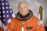 STS-95 crewmember, astronaut and U.S. Senator John Glenn. Glenn was the first American to orbit the earth and returned to space in 1998 aboard a Space Shuttle flight.