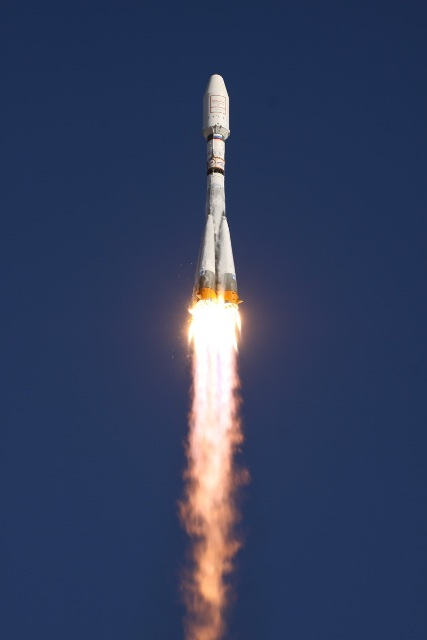 A Soyuz rocket soars skyward after launching from Baikonur Cosmodrome, Kazakhstan, on on July 13, 2011. The rocket carried six new satellites into orbit for the Globalstar network.