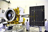 A look at India's communications satellite GSAT-12 as it appeared to engineers before its July 15, 2011 launch.