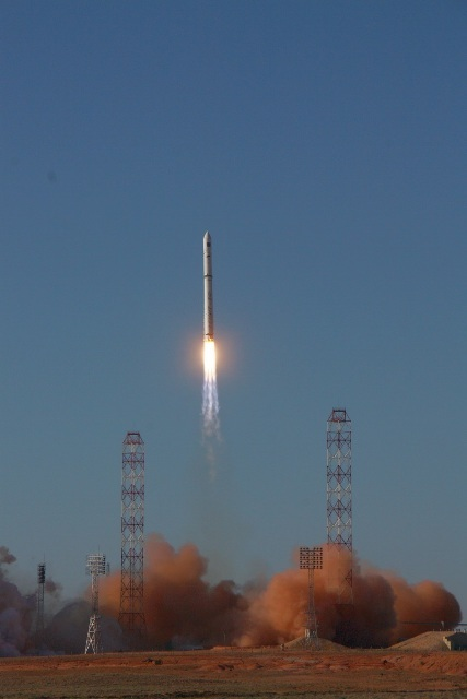 Russia's new Spektr-R radio telescope launches into space atop a Zenit rocket on July 18, 2011 from Baikonur Cosmodrome in Kazakhstan. The Spektr-R observatory will study black holes, pulsars and other deep space objects.