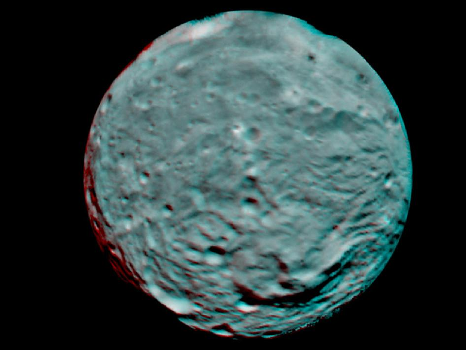 Anaglyph Image of Vesta's South Polar Region