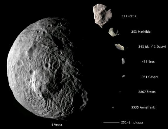 Comparative imagery of nine asteroids. With a diameter of about 330 miles (530 kilometers), Vesta dwarfs all of these small bodies. Many scientists think it's a protoplanet left over from the solar system's first few million years.