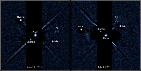Two labeled images of the Pluto system, released on July 20, 2011, taken by the Hubble Space Telescope's Wide Field Camera 3 ultraviolet visible instrument with newly discovered fourth moon P4 circled. The image on the left was taken on June 28, 2011. The image of the right was taken on July 3, 2011.