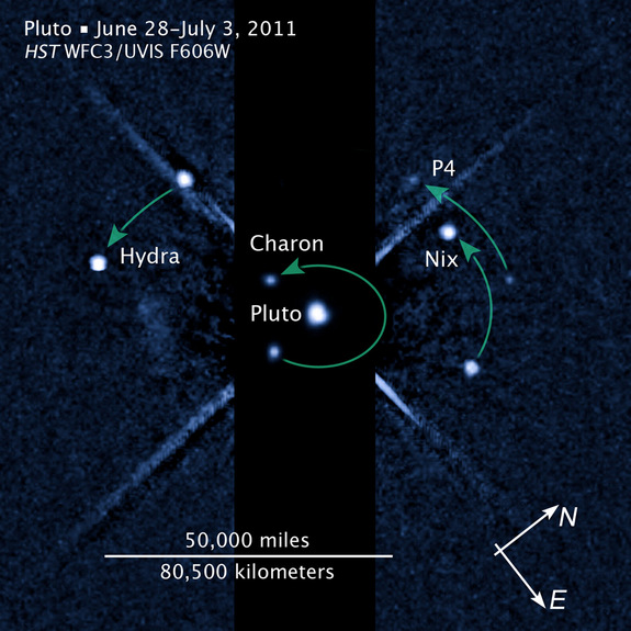 New annotated image showing Pluto and moons, including the newly discovered P4, released July 20, 2011.