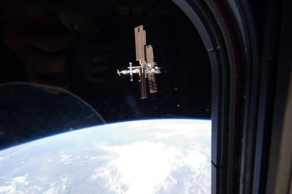 This image of the International Space Station was taken by Atlantis' STS-135 crew during a fly around as the shuttle departed the station on Tuesday, July 19, 2011, FLight Day 12. STS-135 is the final shuttle mission to the orbital laboratory.
