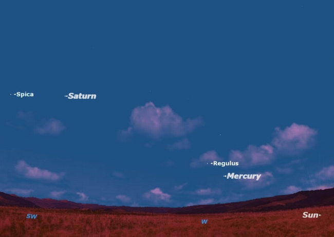 Mercury & Saturn Now Shining with Two Bright Stars