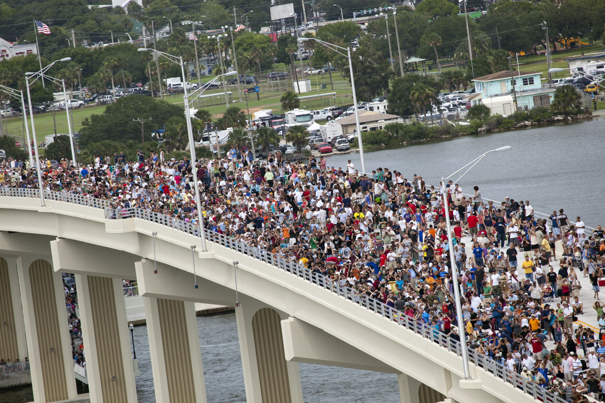 STS-135 Launch Spectators on the A. Max Brewer Bridge in Titusville, Florida