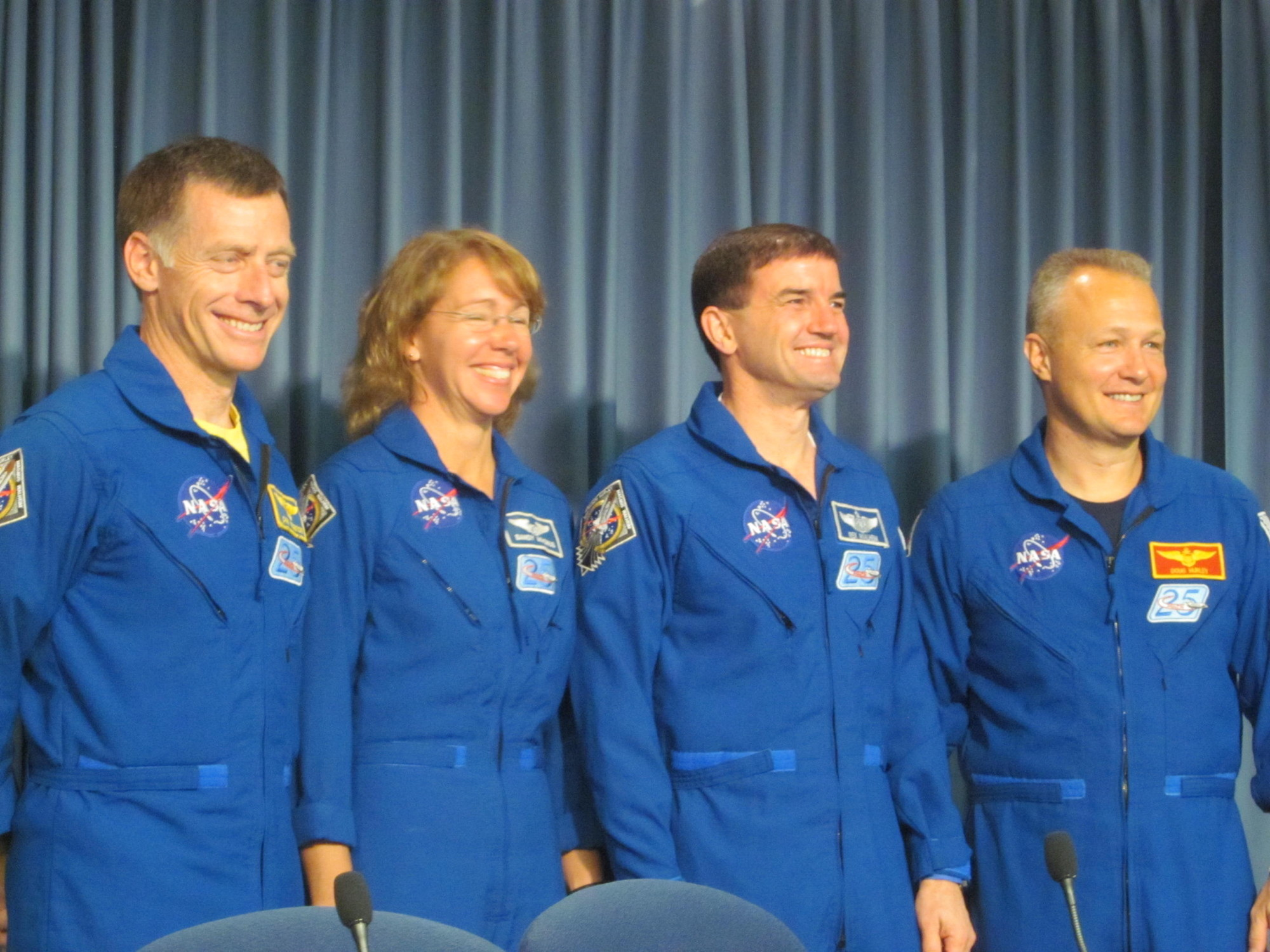 STS-135 Crew at Post-Landing Press Conference
