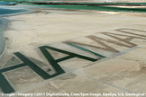 Another view of the name HAMAD carved into the sand of a private island owned by a billionaire from Abu Dhabi.