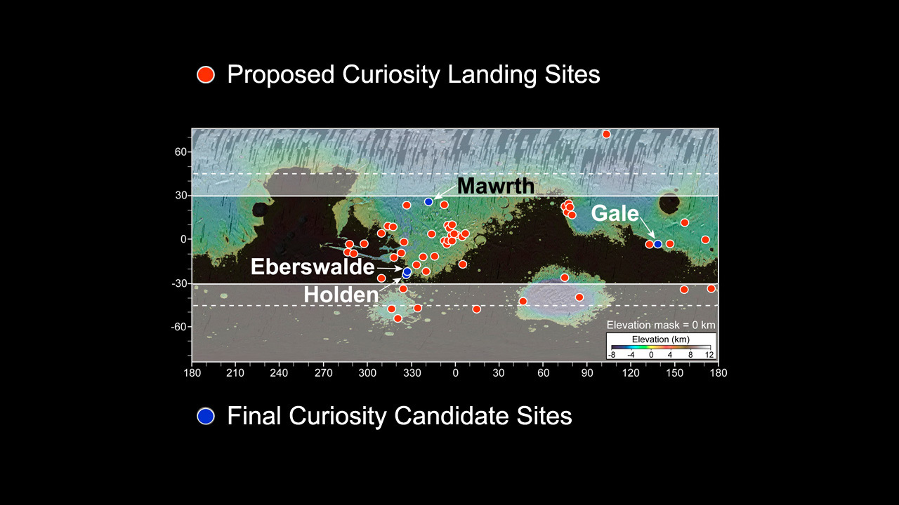 Map of Mars Showing Proposed Landing Sites for Curiosity