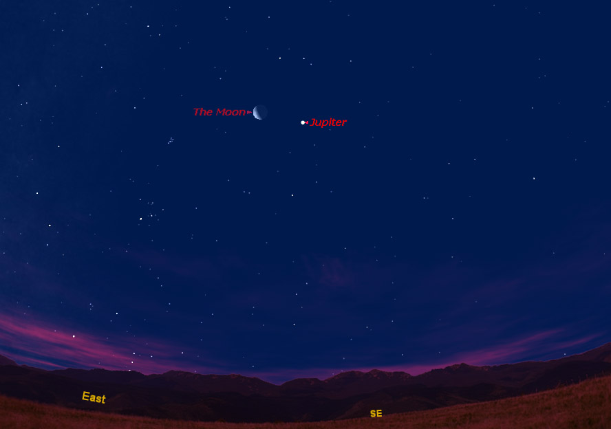 Moon & Jupiter Team Up in Predawn Sky Sunday