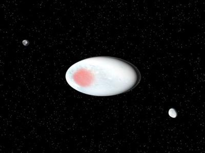 Artist's concept of the dwarf planet Haumea and its two satellites (Hi'iaka and Namaka).