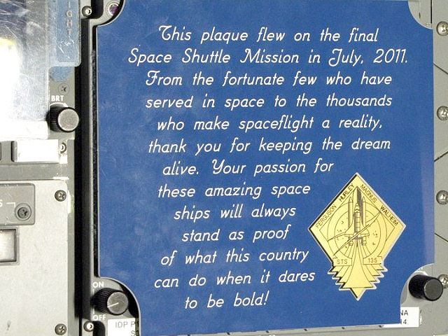 Final Space Shuttle Crew Leaves Plaque on Atlantis