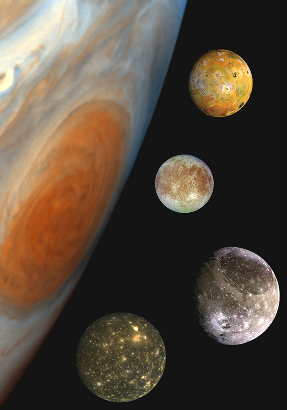 "This ""family portrait,"" a composite of the Jovian system, includes the edge of Jupiter with its Great Red Spot, and Jupiter's four largest moons, known as the Galilean satellites. From top to bottom, the moons shown are Io, Europa, Ganymede and Callisto."