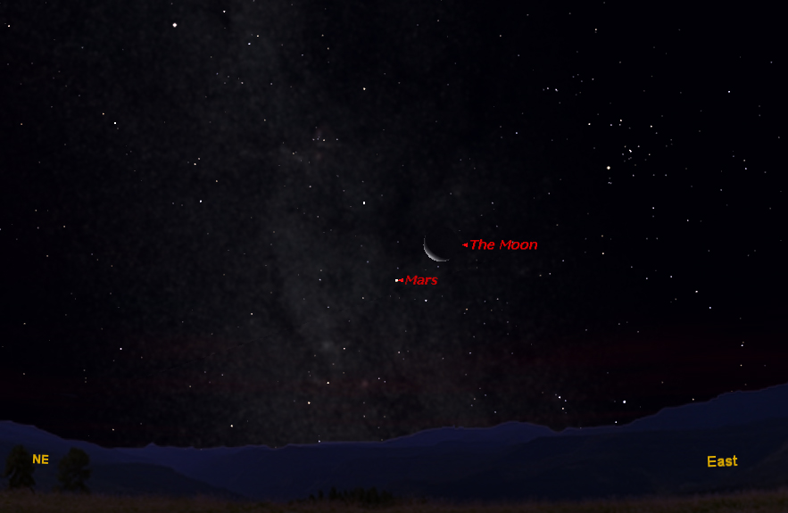 Moon & Mars Appear Together Before Dawn On Wednesday