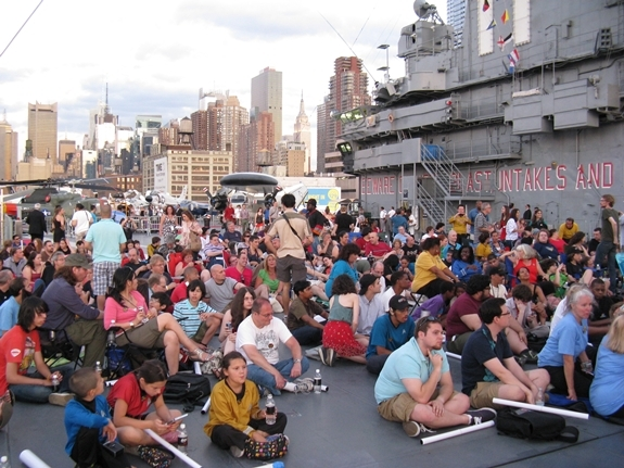 "The crowd starts to fill in on the flight deck of the U.S.S. Intrepid for a screening of William Shatner's new ""Star Trek"" documentary, ""The Captains."""