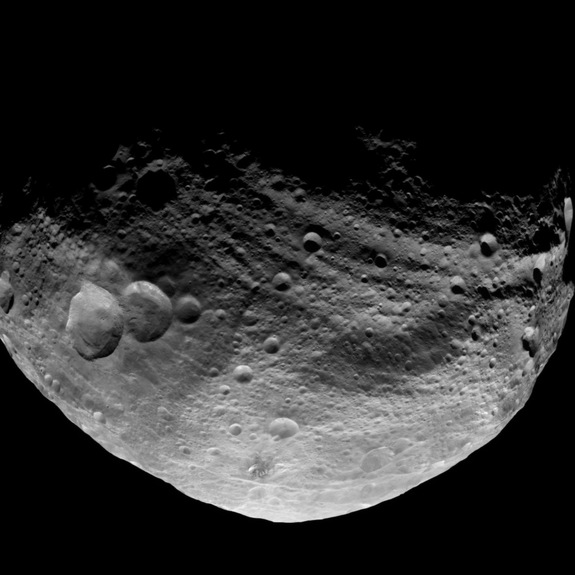Dawn took this image over Vesta's northern hemisphere after the spacecraft completed its first passage over the dark side of the giant asteroid on July 23, 2011.