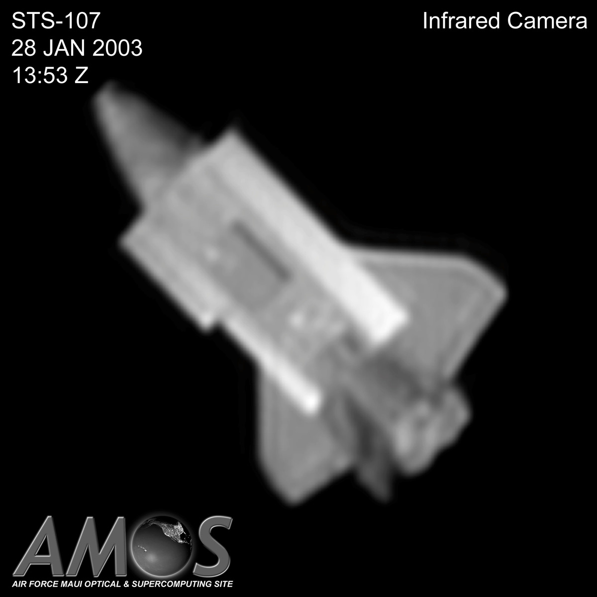 AMOS Angled Image of Shuttle Columbia in Orbit