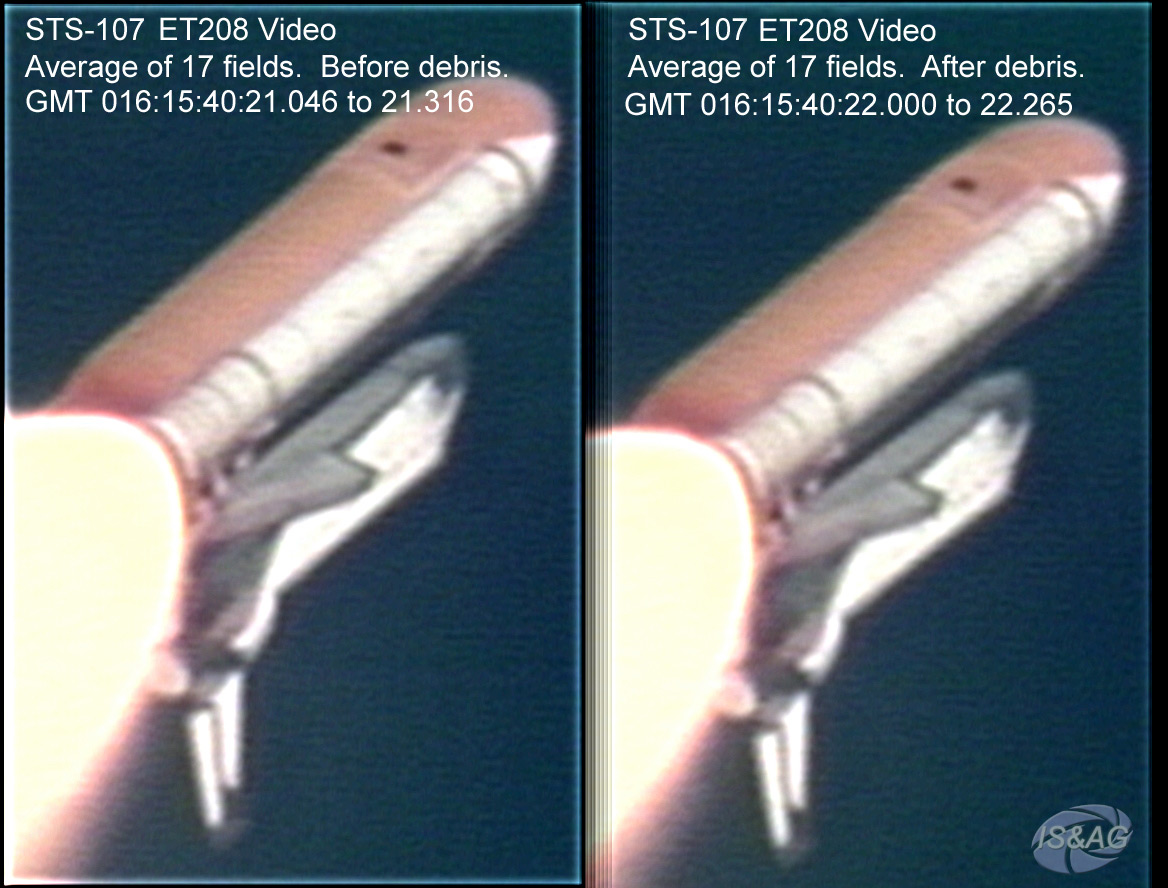 Composite Images of Columbia During Ascent on STS-107