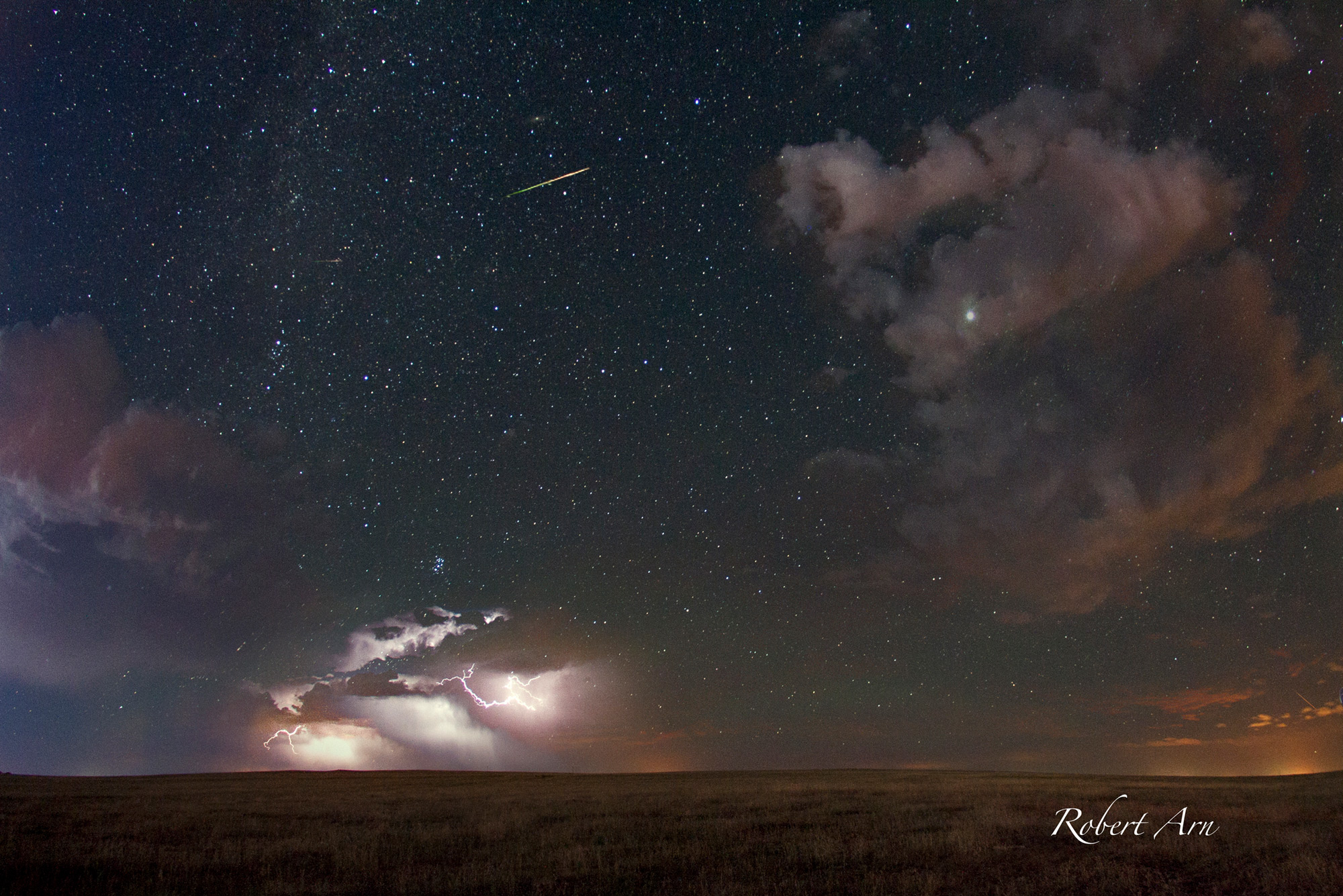 Storm on the Horizon and Perseid Meteor