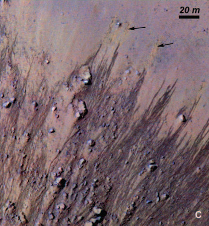 These slopes carved in Horowitz crater on Mars suggest the Red Planet might current host liquid water. Colors have been strongly enhanced to show the subtle differences, including light orange streaks (black arrows) in the upper right that may mark faded lines.