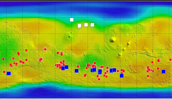 This map of Mars shows relative locations of three types of findings related to salt or frozen water, plus a new type of finding that may be related to both salt and water. Blue boxes are caches of water ice; white boxes are fresh craters that exposed water ice; red boxes are salt deposits that may be from salt water evaporation.