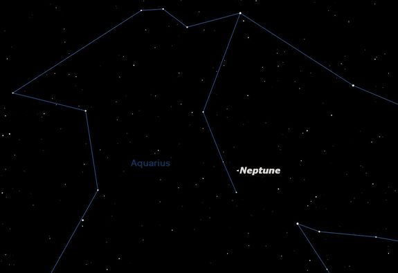 This sky map shows the location of the planet Neptune on Aug. 22, 2011. Neptune will be at opposition and can be spotted in small telescopes.