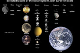 This illustration show moons of our solar system together with the Earth for scale.