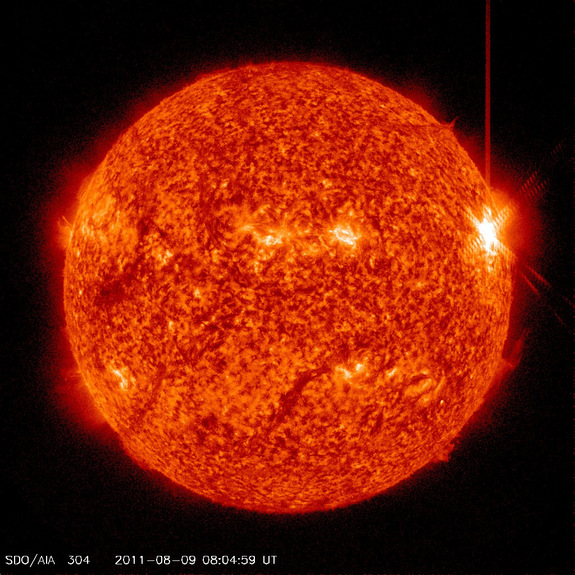 This image from the Solar Dynamics Observatory shows the X6.9 solar flare of Aug. 9, 2011 near the western limb (right edge) of the sun.