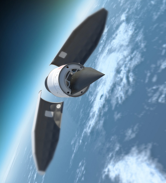 The Falcon hypersonic HTV-2 aircraft emerges from its payload fairing before gliding back to Earth.