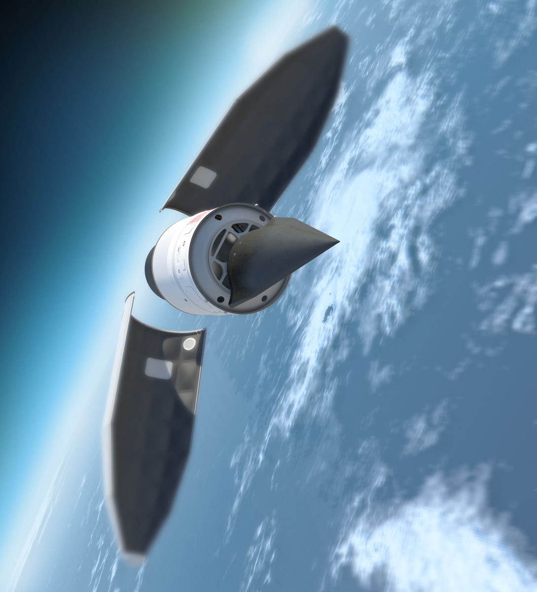 Falcon Hypersonic HTV-2 Payload Fairing Jettisoned