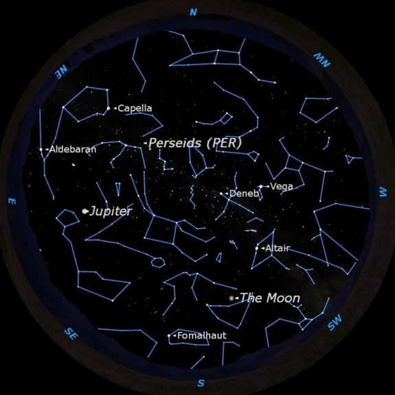 The Perseid meteor shower will compete with a full moon when it peaks on Aug. 12-13, 2011.