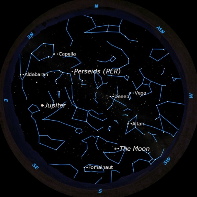 Sky map for 2011 Perseid Meteor Shower