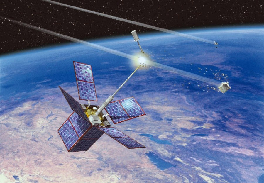 Cerise Satellite Hit by Debris Illustration