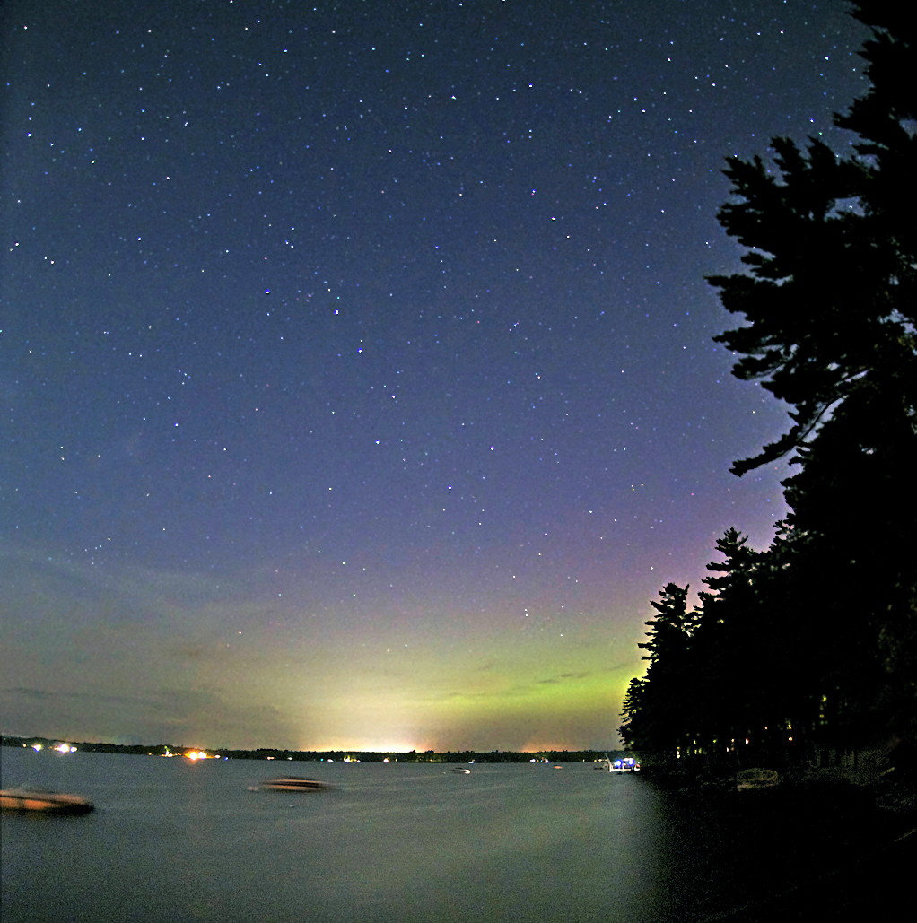 Aurora over Sebago Lake, Maine, August 2011