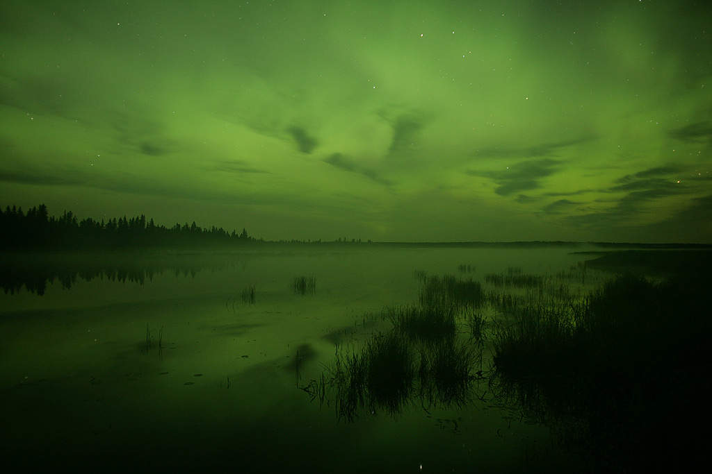 Aurora over Whirlpool Lake, Riding Mountain National Park, Manitoba, Canada, August 2011