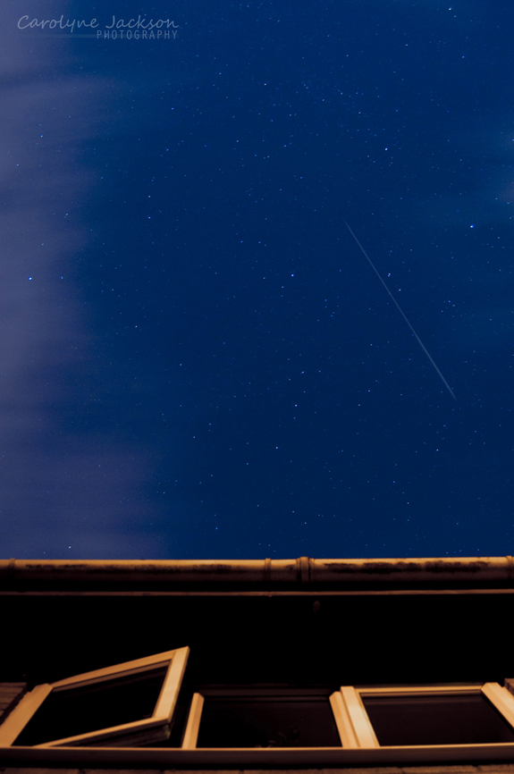 Skywatcher Carolyne Jackson of Woking, Surrey in England snapped this amazing photo of a Perseid meteor from her backyard during the peak of the 2011 Perseid meteor shower on Aug. 12, 2011.
