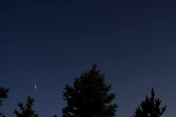Photographer Gary Rader caught this Perseid meteor west of Wichita, Kansas, on August 13, 2011.