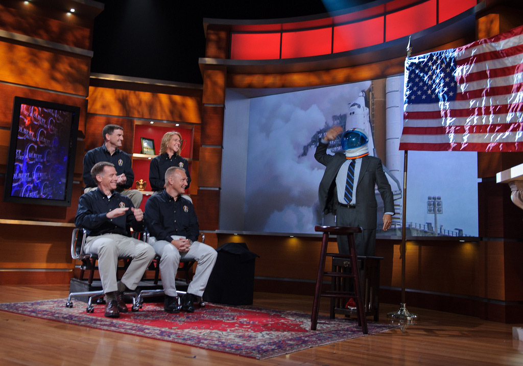 Stephen Colbert Gets 'Space Nut' From Last Shuttle Astronauts