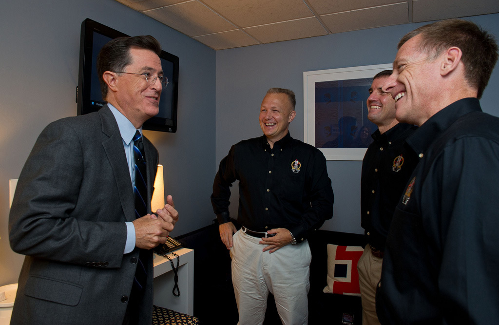 Stephen Colbert Talks with STS-135 Astronauts Prior to TV Taping