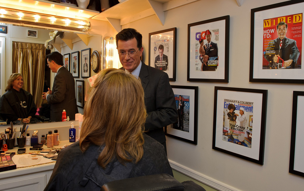 Stephen Colbert Talks with Sandra Magnus Prior to TV Taping
