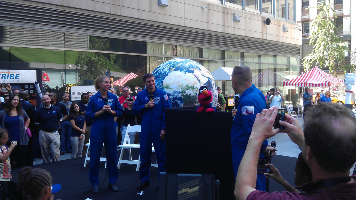 STS-135 Astronauts and Elmo in New York City