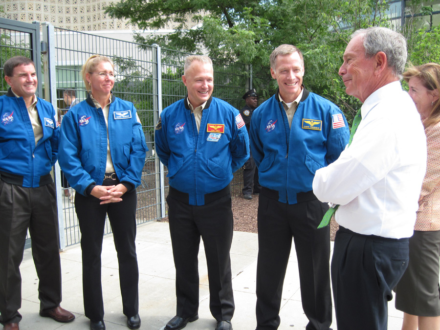 STS-135 Astronauts Meet Mayor Bloomberg