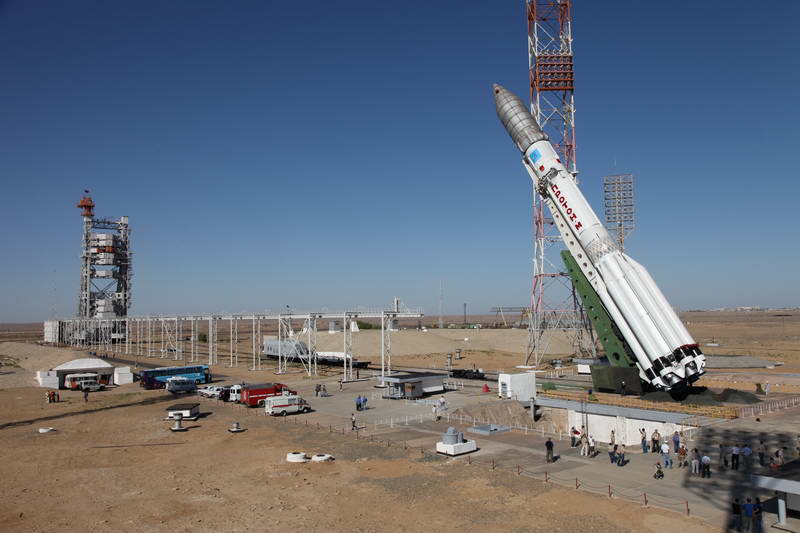 Proton Rocket Hoisted Into Launch Position