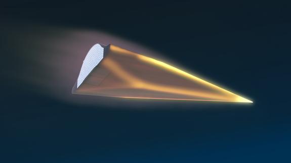 An artist's illustration of DARPA's Hypersonic Test Vehicle-2 flying at speeds of Mach 20.